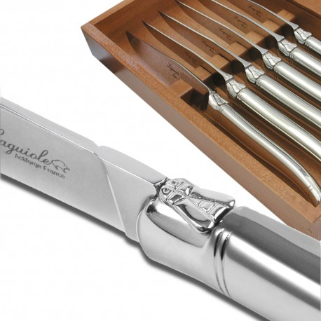 Set of six laguiole steak knives with stainless steel - Couteau de table laguiole ...