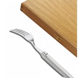 Coffret de 6 fourchettes Laguiole de table Gamme Prestige entièrement forgé avec une finition sablée