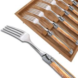 Coffret de 6 fourchettes Laguiole avec un manche en bois