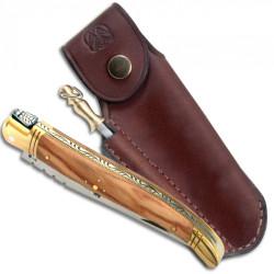 Laguiole manche en bois d'olivier, 12 cm + étui cuir marron et fusil à affûter