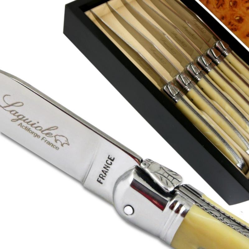 Coffret De Couteaux Laguiole De Table Luxe Beige Avec Mitres En Inox
