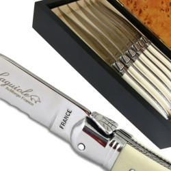 Laguiole de table ABS luxe blanc avec micro-denture