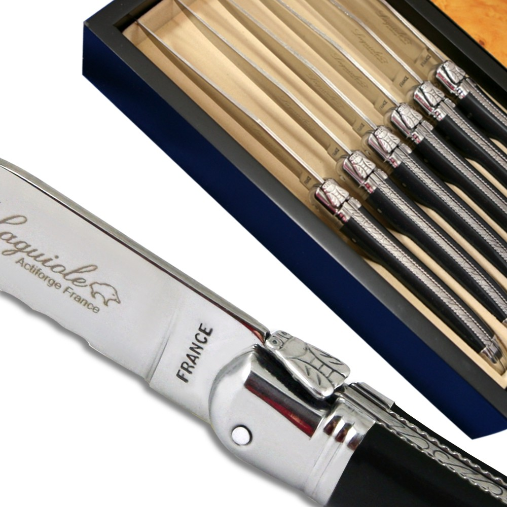 laguiole steak knives luxury black with micro serrated blade in a box
