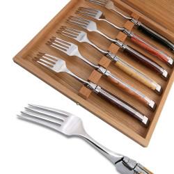 Coffret de 6 fourchettes Laguiole de table bois assortis