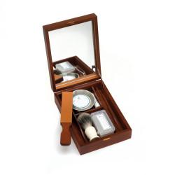 Coffret de rasage pour rasoirs droits Livré avec mini cuir, pâte à cuir, bol, savon, blaireau, bloc d'alun