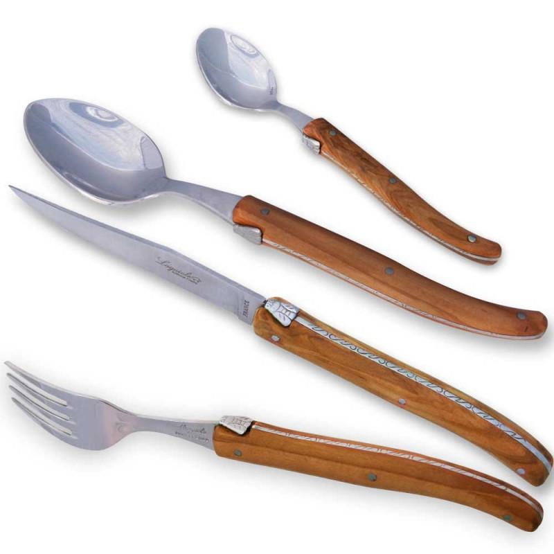 Set of 24 pieces laguiole wood handle laguiole knives - Couteau de table laguiole ...