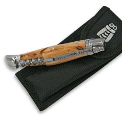 Couteau Laguiole avec tire-bouchon en bois de genévrier et son étui