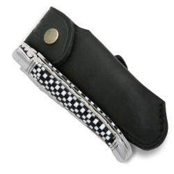 Couteau Laguiole en Cristallium façon damier avec étui cuir