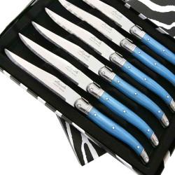 Coffret de 6 Couteaux à steak Laguiole ABS de couleur bleue