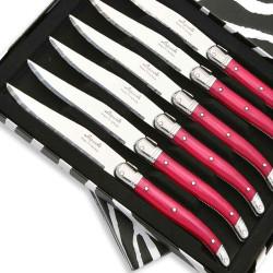 Coffret de 6 Couteaux à steak Laguiole ABS de couleur fuschia