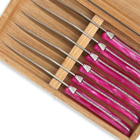 Coffret de 6 couteaux à steak Laguiole manche en plexiglas nacré rose - Image 2085