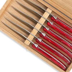 Set of 6 Laguiole steak knives red color plexiglass handles