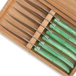 Set of 6 Laguiole steak knives green color plexiglass handles