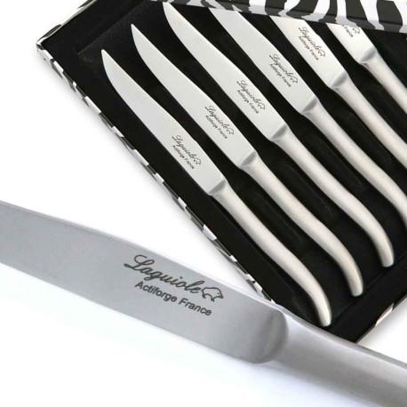 Coffret de 6 couteaux steak Laguiole inox plat avec manche satiné - Image 2103