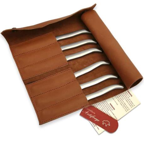 Pochette de cuir pleine fleur avec 6 couteaux Laguiole inox plats satinés - Image 2110