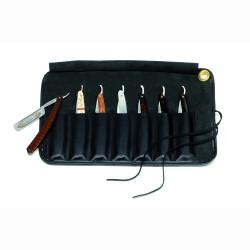 Trousse de cuir noir pour 7 rasoirs