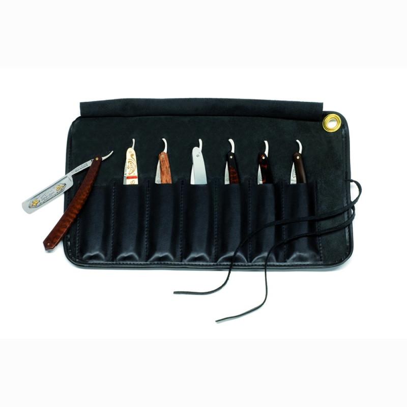 Trousse de cuir noir pour sept rasoirs droits laguiole - Trousse de couteaux de cuisine ...
