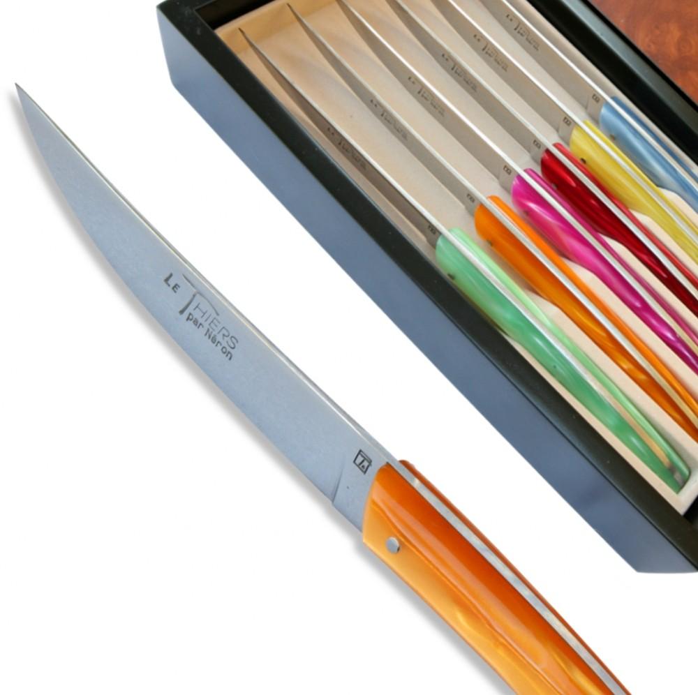 Set 6 couteaux Thiers manche de couleur assorties