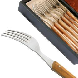 Set 6 Fourchettes Thiers manche en bois d'olivier
