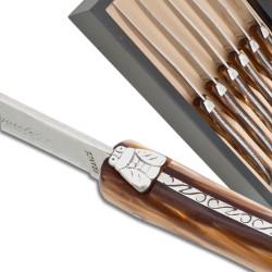 Coffret de 6 couteaux à steak Laguiole manche en plexiglas nacré chocolat