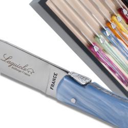 Coffret de 6 couteaux à steak Laguiole manche en plexiglas de couleurs nacrées assorties