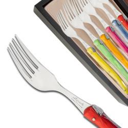 Coffret de 6 fourchettes Laguiole manche en plexiglas de couleurs nacrées assorties