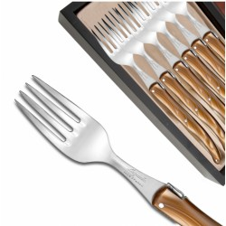 Set of 6 Laguiole forks pearly brown plexiglass handles