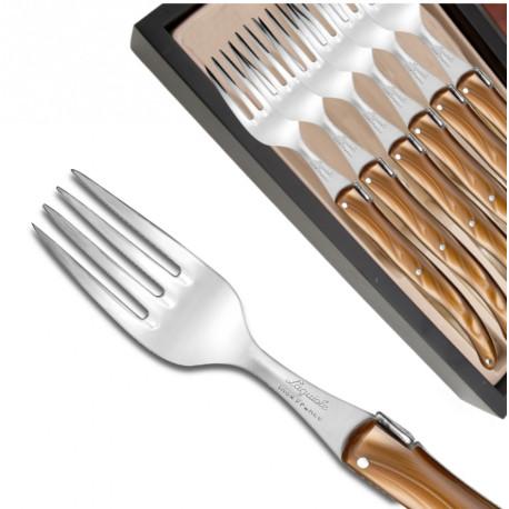 Coffret de 6 fourchettes Laguiole manche en plexiglas nacré chocolat - Image 577