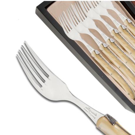 Coffret de 6 fourchettes Laguiole manche en plexiglas nacré champagne - Image 578