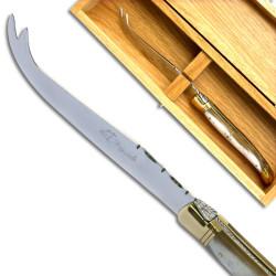 Couteau à fromage, manche en corne blonde