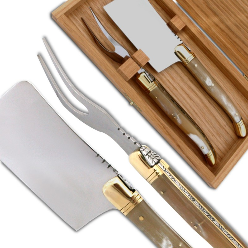 service fromage laguiole corne blonde couteaux. Black Bedroom Furniture Sets. Home Design Ideas