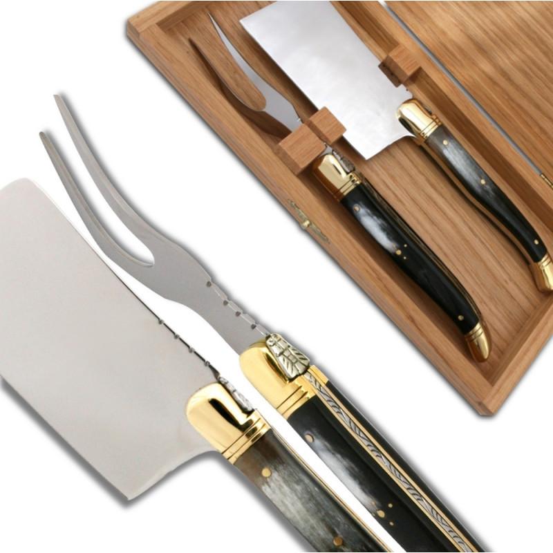 service fromage laguiole corne noire couteaux laguiole. Black Bedroom Furniture Sets. Home Design Ideas