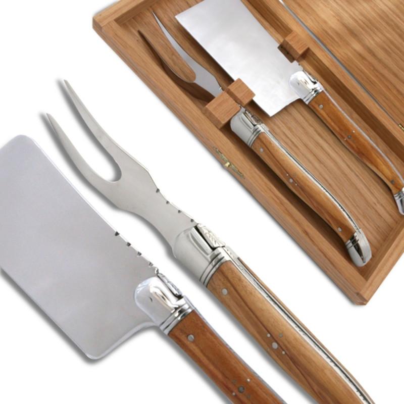 service fromage laguiole bois d 39 olivier couteaux. Black Bedroom Furniture Sets. Home Design Ideas