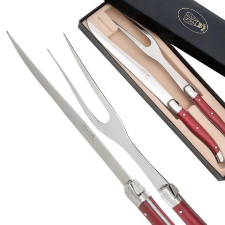 Carving set laguiole pearlized red color laguiole knives - Couteau de table laguiole ...