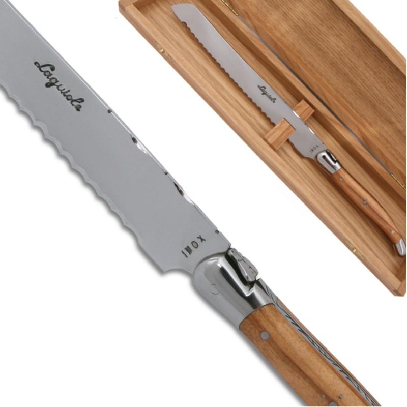 couteau pain laguiole en bois d 39 olivier avec des mitres. Black Bedroom Furniture Sets. Home Design Ideas