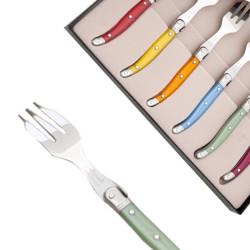 Coffret de 6 fourchettes à gâteau Laguiole nacrées coloris assortis